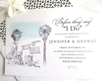 O'Donnell House Palm Springs Skyline Weddings Rehearsal Dinner Invitations (set of 25 cards)