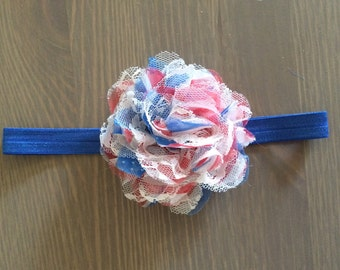 Vintage Inspired Lacey American Flag Flower Headband, Baby Girl 4th Of July Headband, Photo Prop, Toddler Headbands, Newborn Headbands