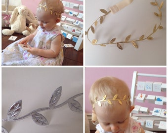 Gold or silver leaf baby / toddler / girl stretch headband in sizes newborn - adult.