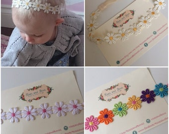 Daisy lace crochet baby / toddler / girl stretch headband in sizes newborn - adult.