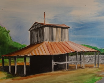 "Original acrylic painting, ""North Carolina Cotton Field,"" 16"" x 20"""