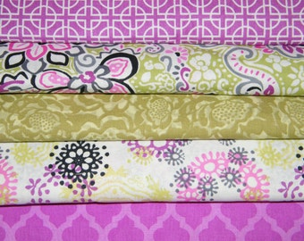 5 FQ Bundle – MAGENTA FIESTA Prints 100% Cotton Quilt Fabric Fat Quarters