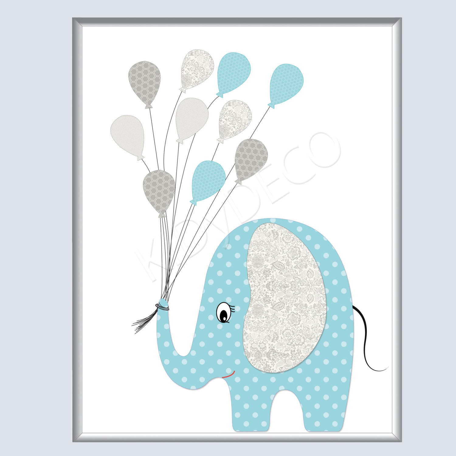 elephant gray peas blue balloons illustration for baby. Black Bedroom Furniture Sets. Home Design Ideas