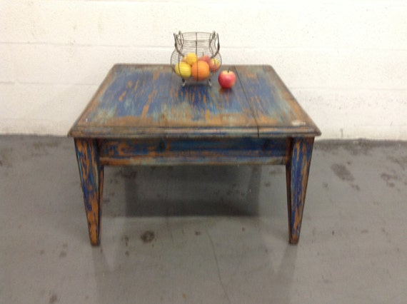Vintage Distress Wooden Square Coffee Table Rustic By