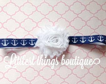 Anchor headband, navy headband, navy anchor, baby headband, newborn headband