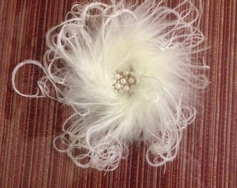ostrich feather rhinestone alligator clip/pin