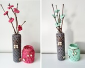 Gift set with crochet candle holder,vase and flowers - giftset - crochet home decoration