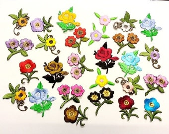CraftbuddyUS 10 Iron On Stick, Sew On Fabric Flower Motifs, Craft, Sewing, Embroidery Patches