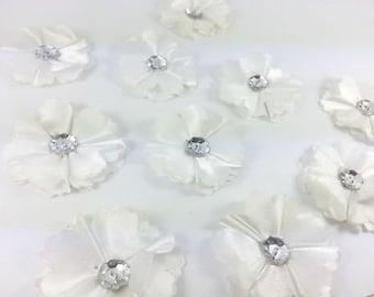 CraftbuddyUS 10 Gorgeous White Diamante Stick On, Sew on Fabric Flower Motifs, Craft, Sewing
