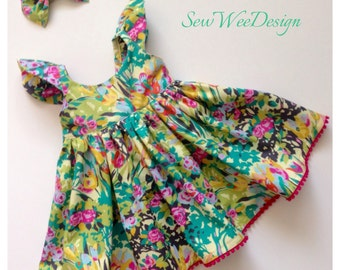 Girls dresses, Little girl dresses, Amy Butler fabric, floral dress, Green dress, special occasion dress, pom pom dress