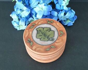Ceramic Coasters, Terra Cotta Coasters, Ivy Leaf Coasters, Barware, Table Protectors, Vintage Coasters, Gift Giving