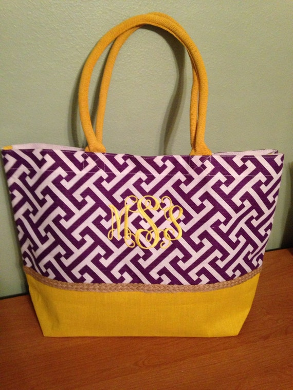 Purple  Gold beach bag