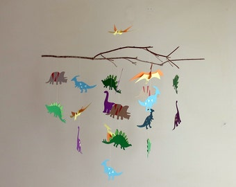 Colorful Dinosaur Mobile - nursery mobile, kids room decor, branch mobile,boys mobile