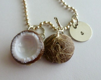 Coconut Personalized Jewelry Miniature Food Jewelry Initial Necklace Custom Jewelry Polymer Clay Coconut Charms