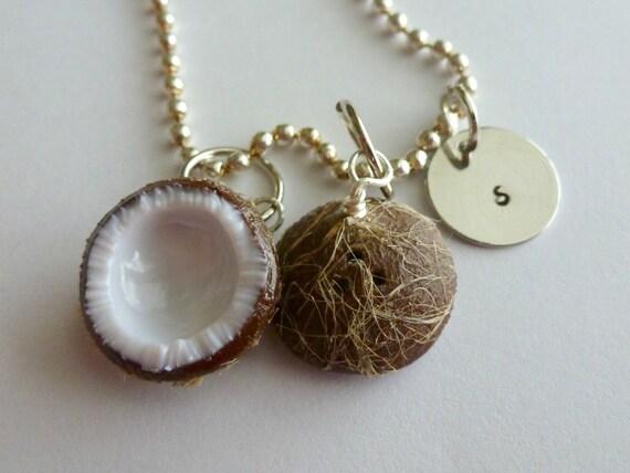 coconut personalized jewelry miniature food jewelry initial
