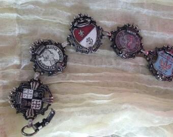 Vintage Coro Bracelet - Shield, Canadian Penny, Fleur de Lys