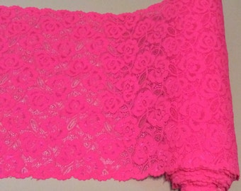 "Hot Pink - Fuchsia - Bright Pink Floral Stretch Lace Trim *  Sold by the Yard  *  11"" Wide * 4-way Stretch"