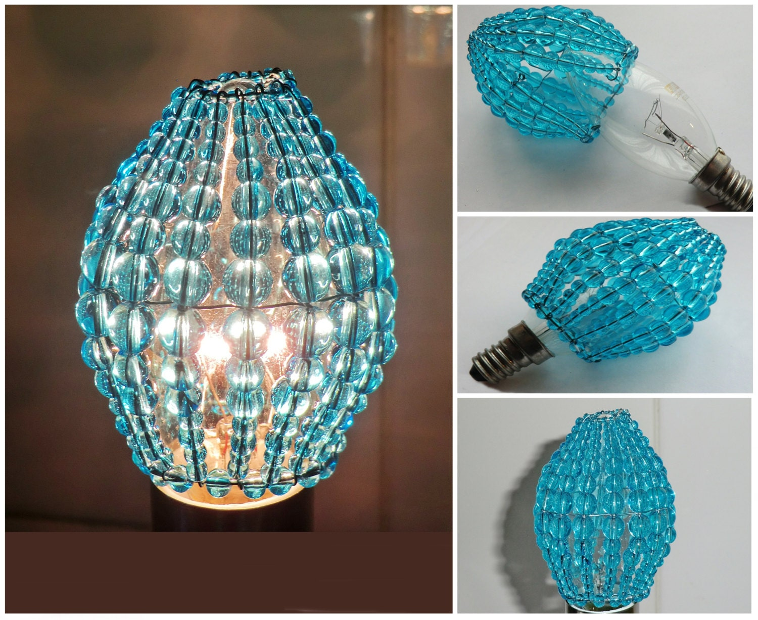 Crystal Chandelier Inspired Glass Beaded Lightbulb Candle Bulb Cover  Turquoise Pendant Lamp Teal Aqua Lamp Shade