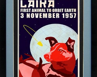 Laika Space Dog Poster Framed 20 X 15 Inches