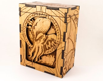 Magic the Gathering Deck Box | Realistic Cthulhu HP Lovecraft tcg Box | Wood MTG Box | Personalized Trading Card Game Box | RPG Dice Box