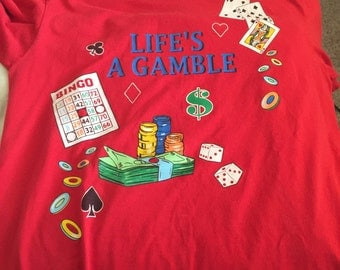 Vintage Casino Gaming Gambling T Shirt S/M