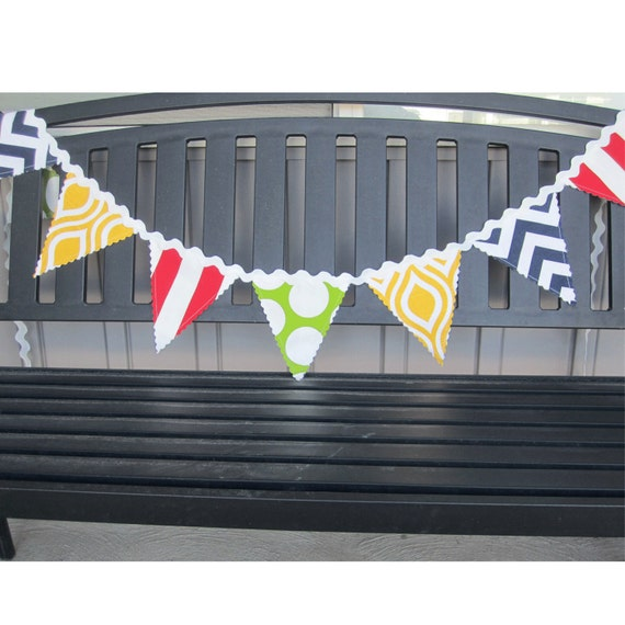 Items Similar To Fabric Flag Banner, Birthday Banner