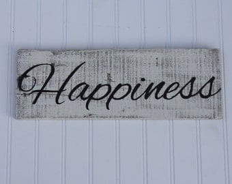 Happiness Reclaimed Wood Sign