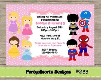 283 DIY - Princess and Superhero Girls Invitations