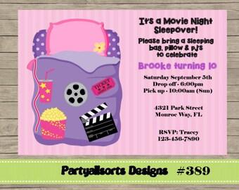 389 DIY - Girls Movie Night Sleepover Party Invitations Cards.