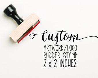 CUSTOM 2 x 2 inch Stamp,  Custom Artwork Stamp, Stamp Logo, Custom Logo Stamp, Company Stamp, Business Stamp, Business Card Stamp