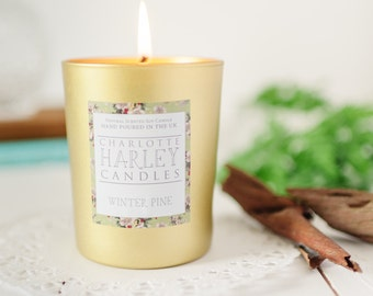 Winter Pine and Cedar Naturally Scented Soy Wax Aromatherapy Christmas Candle, Luxury Candle
