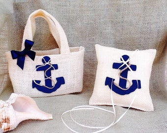 Set of Anchor Ring Bearer Pillow and Flower girl basket -Nautical anchor  - Beach Wedding-Navy Wedding-Coast Guard Wedding -Marine Wedding