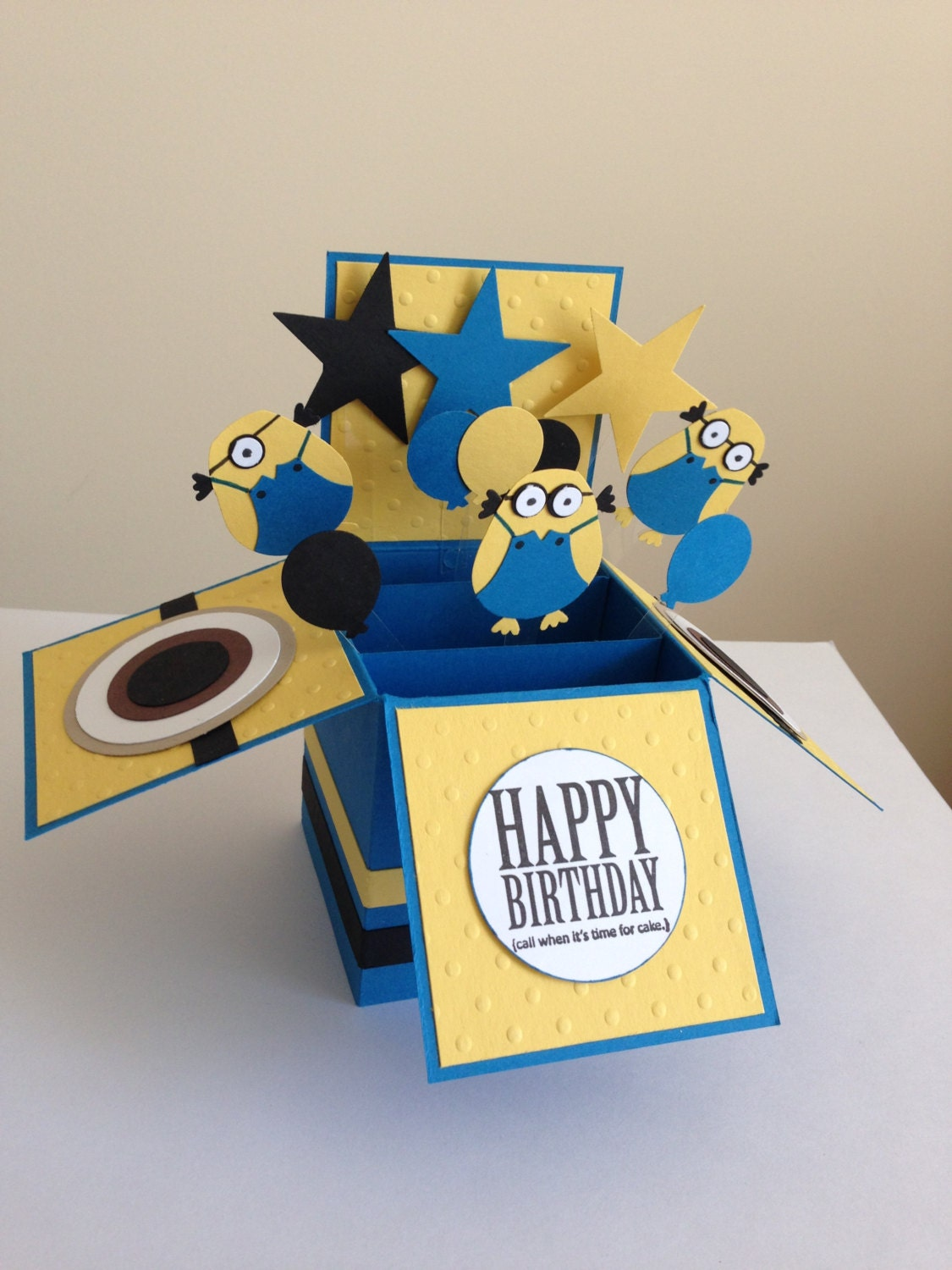 Handmade Happy Birthday Card in a box Pop up kids – Minion Happy Birthday Card