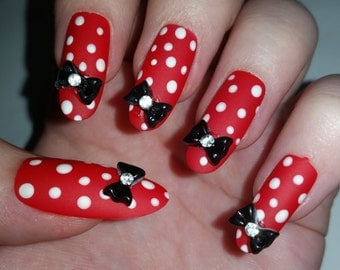 Red Polka dot Fake nails, False nails, Artificial nails, Acrylic nails, Custom nail set, Press on nails, Glue on nails, Fashion Nails.