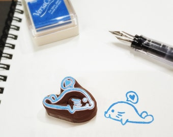 a little seal rubber stamp ,seal pattern rubber stamp , seal hand carved stamp ,seal stamp