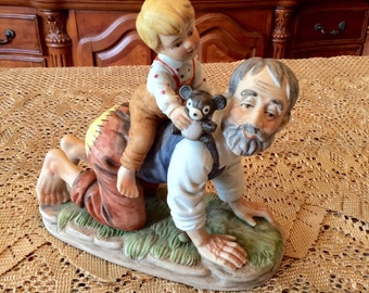 Norman Rockwell Style Grandpa with Grandson Figurine - Grandfather Playing with Grandson - Fathers Day Gift - Gifts for Him