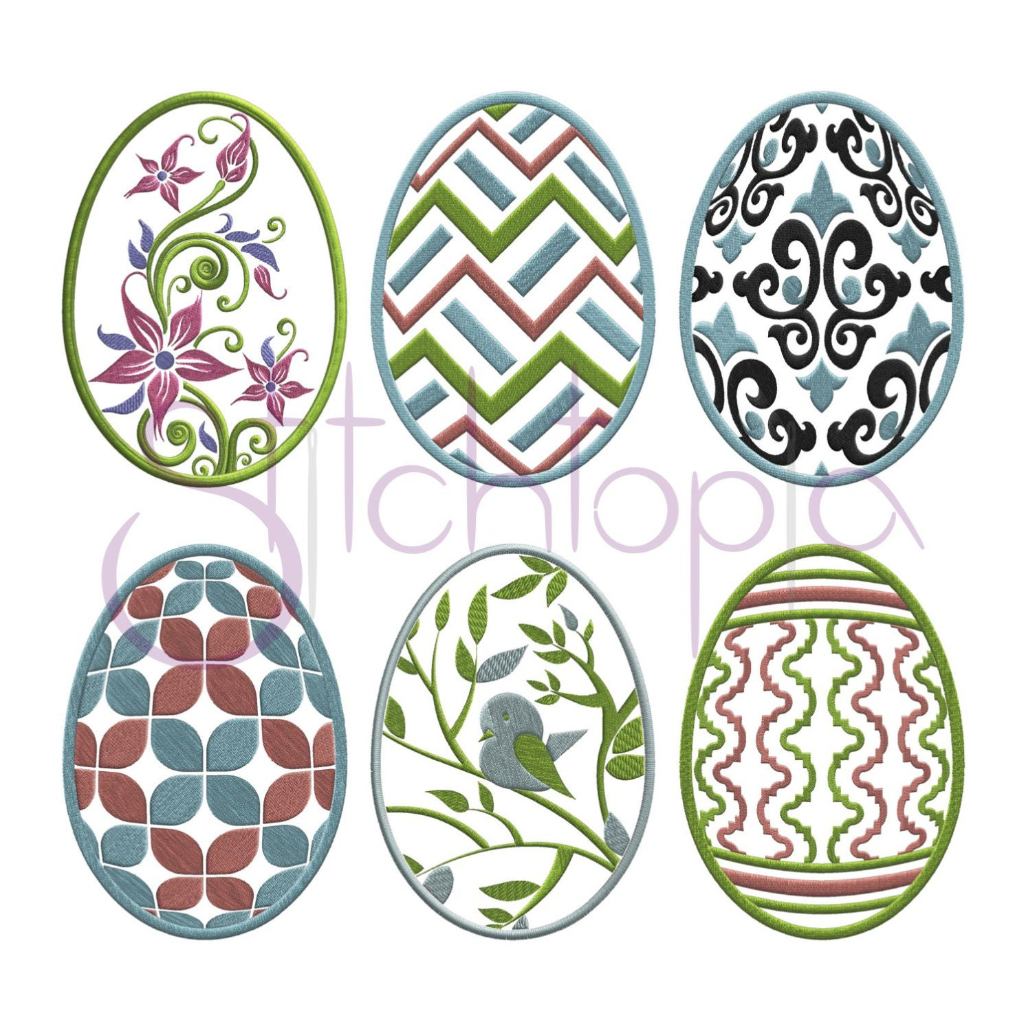 Easter egg embroidery design set digital machine damask