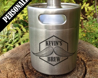 Custom Stainless Steel Mini Keg Growler with personalized design, personalized growler, groomsmen, laser engraved, home brew