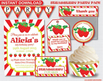 Instant Download- Strawberry themed birthday party pack -Kid birthday party pack printable
