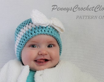 PATTERN ONLY Big Bow Hat crochet pattern includes sizes newborn, 0-3 months, 3-6 months & 6-12 months, very easy pattern