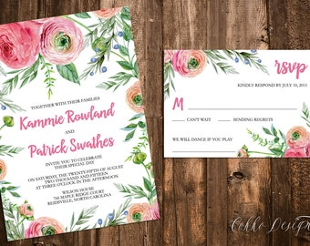Kammie Printable Wedding Invitation (DIY Invitation), Watercolor Floral Invitation