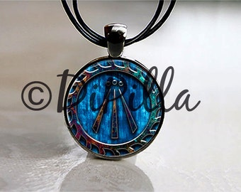 Awen Symbol Druid Pendant in Beautiful Azure Blue set in Gun Metal Black with Leather Cord or Chain