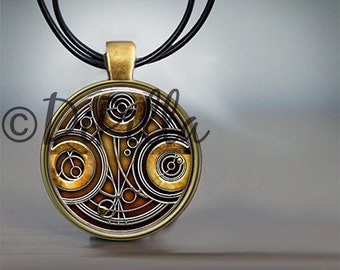 Dr Who Time Lord Gallifreyan Pendant with Leather Cord and Choice of Colors