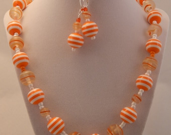 White and Orange Necklace and Earring Set