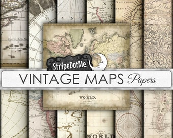 Vintage Maps Digital Paper 12 Designs Europe, Asia, Africa, America, Old World, Antique Maps - Instant Download - Commercial Use 00047