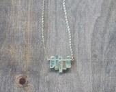 Raw Aquamarine Crystal Necklace on Sterling Silver or Gold Filled Chain, Organic Rustic Rough Aquamarine Jewelry, Raw Gemstone Crystal