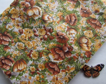 "Lovely Vintage Floral Fabric - 1950's - Brown Yellow Green - 36"" Wide x Two and One Half Yards"