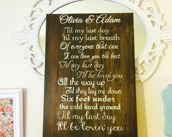 Customized song lyric sign. Personalized groom bride name wedding gift sign