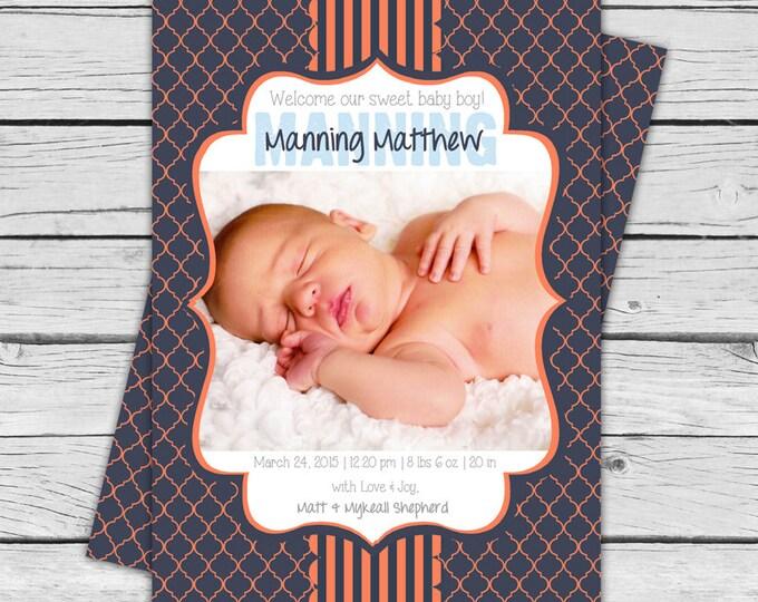 BABY ANNOUNCEMENT - Navy Blue & Orange Personalized Baby Announcement, Welcome Home Baby, Newborn