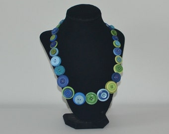 Lime Green and Blue Button Necklace